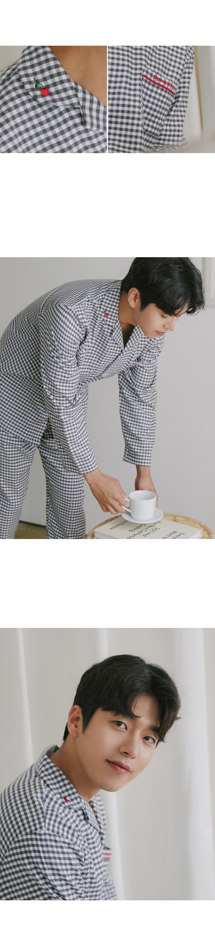코지 체크 기모면 남자 겨울잠옷 파자마 - 바이메이비, 69,800원, 잠옷, 남성파자마