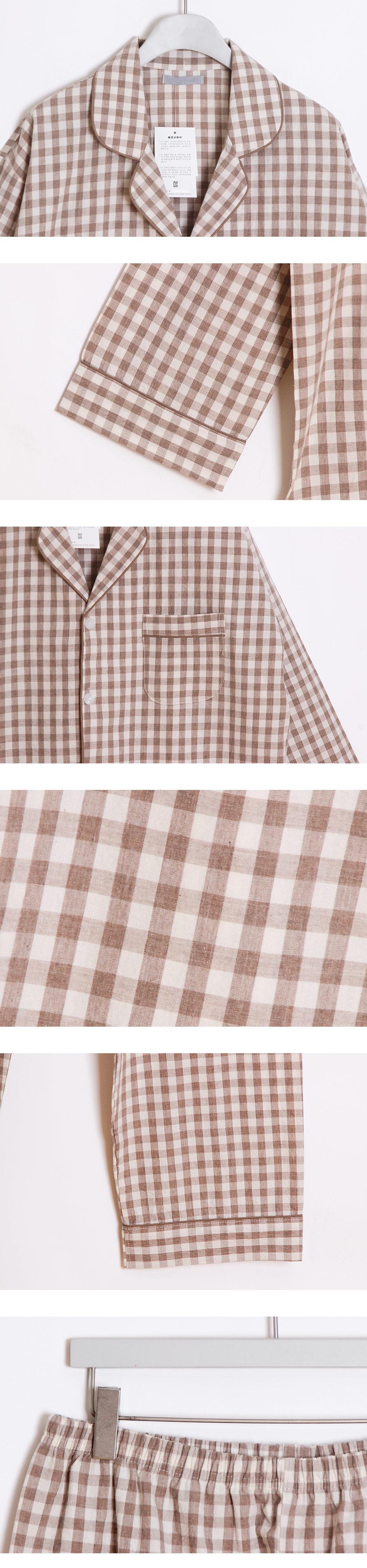 라운지체크 순면 신혼부부커플잠옷 - 바이메이비, 138,000원, 잠옷, 커플파자마