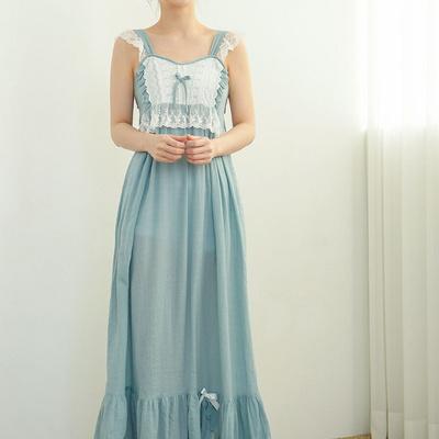 시에나 면 레이온 민소매 여자 여름 롱원피스잠옷