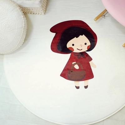 극세사 백설공주 핑크 원형 러그 카페트 100x100cm