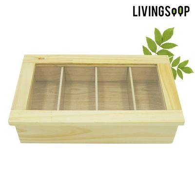 리빙숲 원목 티박스 4칸/커피믹스수납/tea보관함/정리함