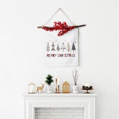 크리스마스 패브릭 포스터 베리 가랜더 트리프렌즈