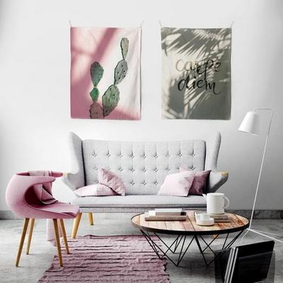 패브릭 포스터 태피스트리 가리개 커튼 캑투스 핑크 라이트 대형