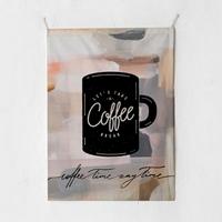 패브릭 포스터 태피스트리 가리개 커튼 커피 타임 대형