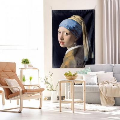 패브릭 포스터 태피스트리 가리개 커튼 진주 귀걸이를 한 소녀 대형