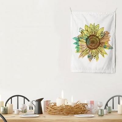패브릭 포스터 태피스트리 가리개 커튼 선플라워 팝 옐로우 대형