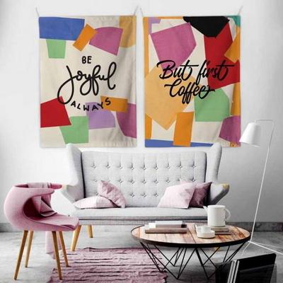 패브릭 포스터 태피스트리 가리개 커튼 2장 세트 비 조이풀-벗 퍼스트 커피 대형