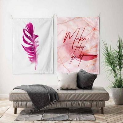 패브릭 포스터 태피스트리 가리개 커튼 2장 세트 핑크 마블-핑크 페더 대형
