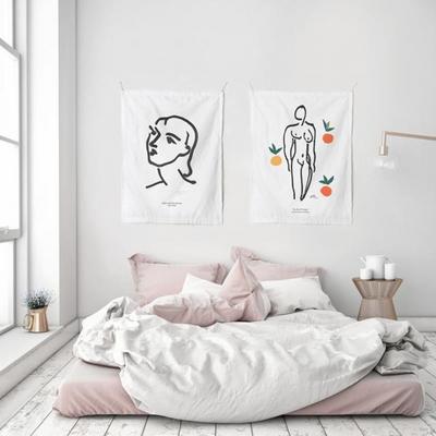 패브릭 포스터 태피스트리 가리개 커튼 2장 세트 나디아 -뉴오스오렌지 대형