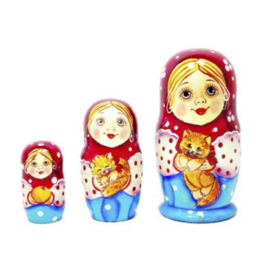 러시아인형 마트로시카 3구 소녀시리즈 - 소녀와 고양이