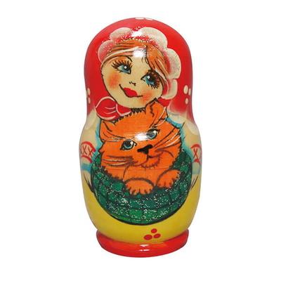 러시아인형 마트로시카 5구 소녀와 고양이 미니