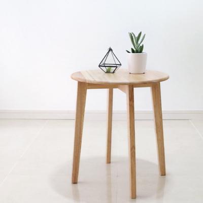 원목 원형 사이드 테이블 L