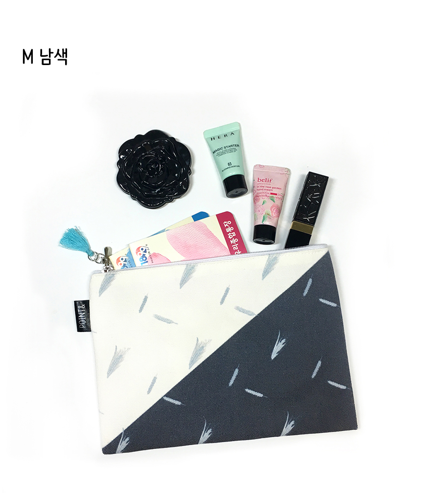 보리 패턴디자인 미니 태슬 파우치 S-M - 포인트앤드, 6,500원, 화장품파우치, 패브릭
