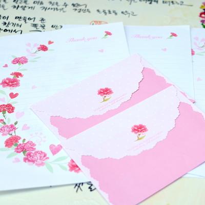 카네이션 편지지 봉투세트
