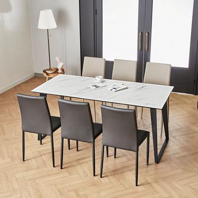 제르마노 이태리 천연 세라믹 6인용 식탁 세트 1700 올리에 가죽 의자