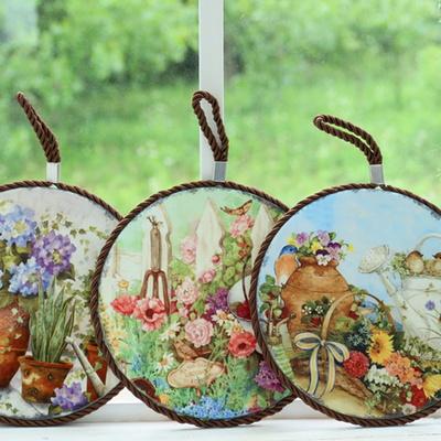 결혼선물 정원 원형 냄비받침 디자인 소품