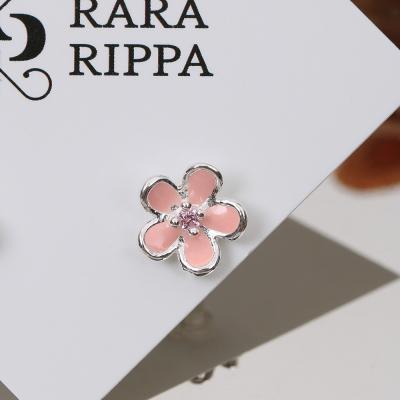 핑크 작은 꽃 은침귀걸이 데일리 이어링