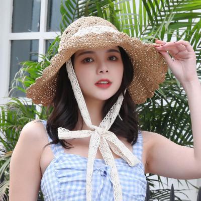 (당일출고) 레이스 밀짚모자 여자 여름 페이퍼햇 비키니소품 수영복
