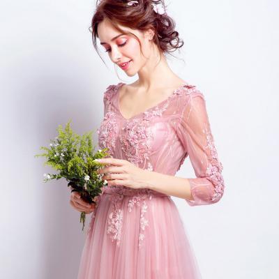 레이스 자수 시스루 브라이덜 샤워 핑크 드레스