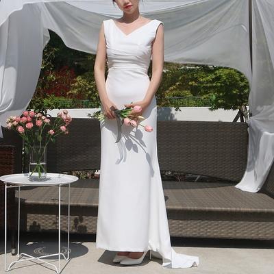 브이넥 백트임 슬림핏 심플 화이트 셀프웨딩 롱 드레스 원피스 3XL까지 빅사이즈