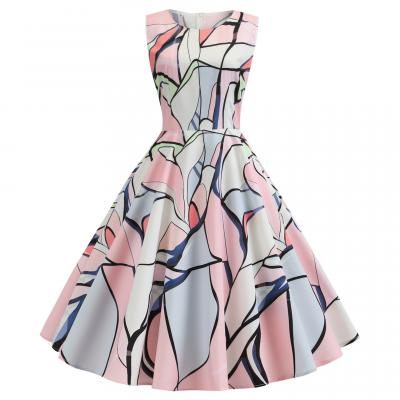 유니크 패턴 4타입 민소매 플레어 햅번 원피스 복고풍 유럽풍 레트로의상 드레스