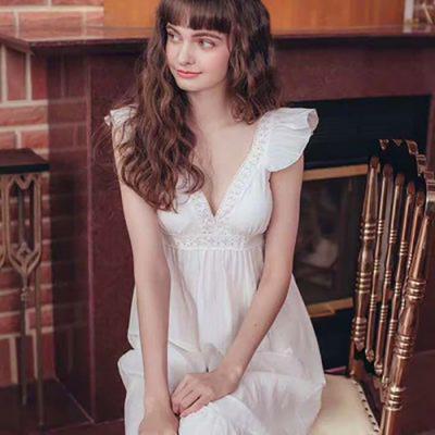 천사날개 원피스형 잠옷 순면 홈웨어 레이스 파자마 여자