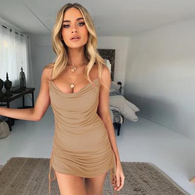 끈나시 섹시 슬림 원피스 비치웨어 클럽 드레스 홀복