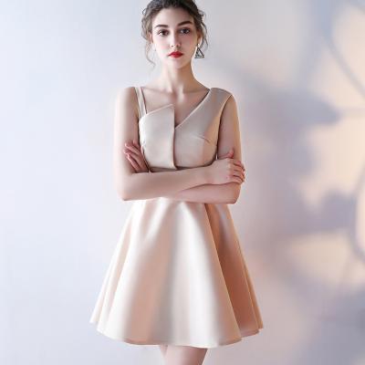 언발란스 오프숄더 끈나시 민소매 A라인 드레스 원피스