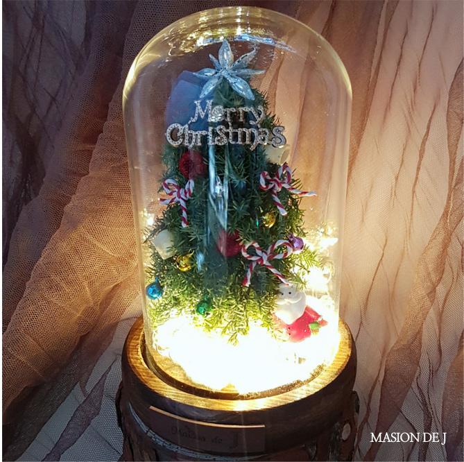 크리스마스 트리 LED유리돔-뉴트로 크리스마스선물 - 메종드제이, 45,000원, 조화, 프리저브드