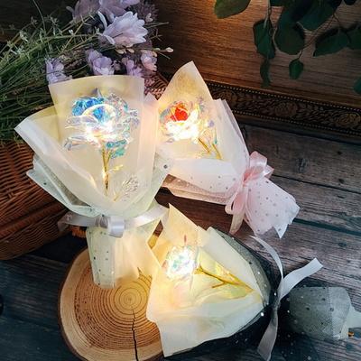LED 3종 오로라장미 꽃다발_커플선물_실물깡