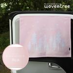 우븐트리 차량용 양면 자석 햇빛가리개 북유럽숲-핑크