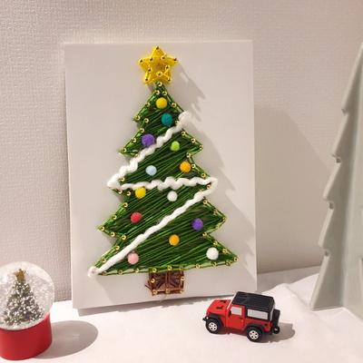 LED 폼폼 크리스마스 트리 스트링아트 만들기 패키지 DIY