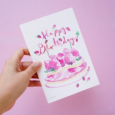 생일축하 카드- 딸기케이크