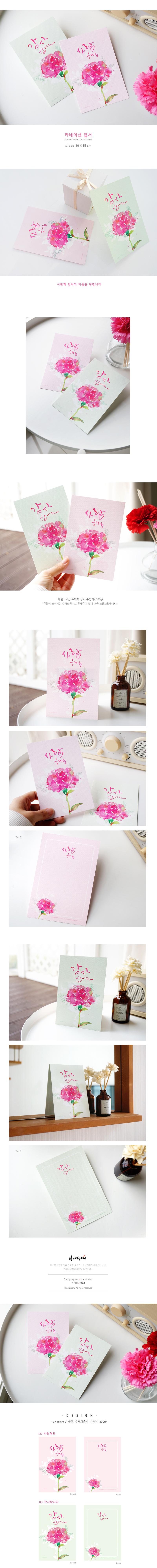 캘리그라피 카네이션 엽서 - 늘봄, 1,000원, 카드, 시즌/테마 카드