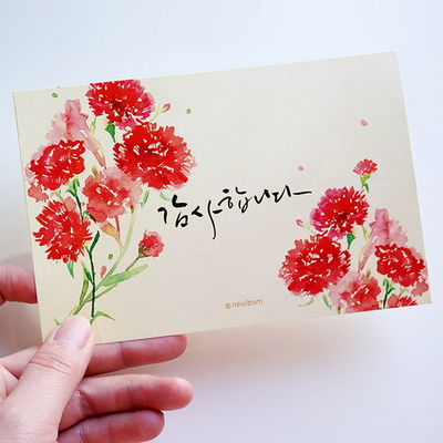 엽서- 카네이션 (감사합니다)