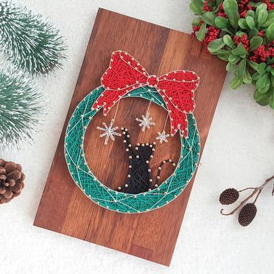 크리스마스 리스 고양이 스트링아트(우드 LED)