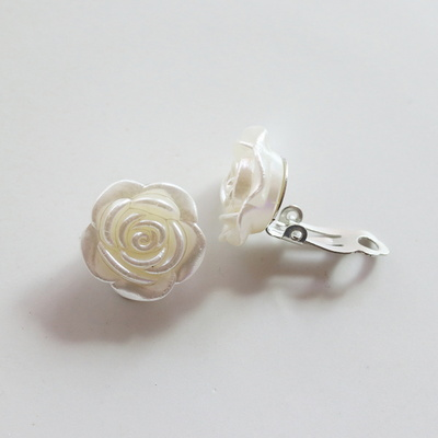 rose 화이트 장미 귀찌귀걸이