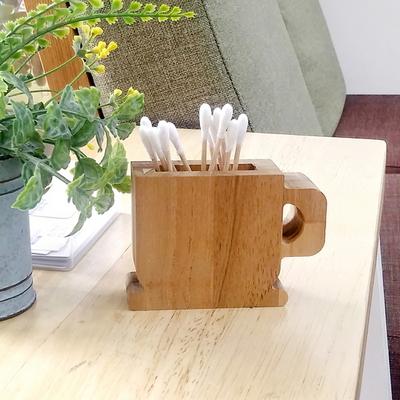 티크 원목 커피 모양 면봉 이쑤시개 꽂이 장식소품
