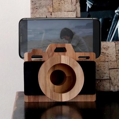 티크 집성 원목 레트로 감성 카메라 모양 미니멀 디자인 우드스피커 외 가로보기 기능 및 거치대