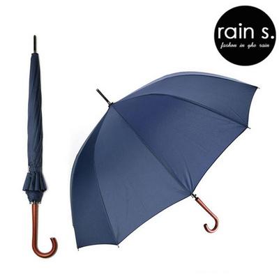rain s.레인스 12살 튼튼한 자동 장우산 우드핸들 네이비블루