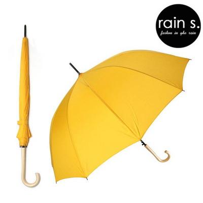 rain s.레인스 12살 튼튼한 자동 장우산 우드핸들 시트러스옐로우