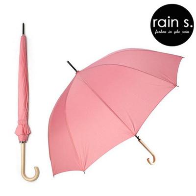 rain s.레인스 12살 튼튼한 자동 장우산 우드핸들 로즈핑크