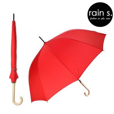 rain s.레인스 12살 튼튼한 자동 장우산 우드핸들 스위트레드
