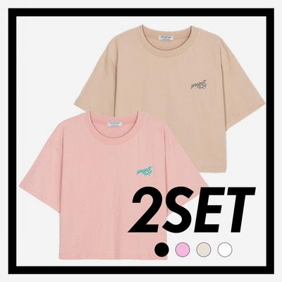 (1+1) WOMEN 데일리 오버핏 자수 크롭 티셔츠 (4컬러)