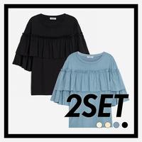 (1+1) WOMEN 가슴 러플 슬리브 티셔츠(4컬러)