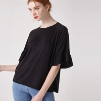 WOMEN 소매 러플 슬리브 티셔츠(블랙)