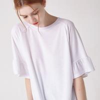 WOMEN 소매 러플 슬리브 티셔츠(화이트)