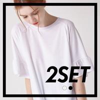 (1+1) WOMEN 소매 러플 슬리브 티셔츠(2컬러)