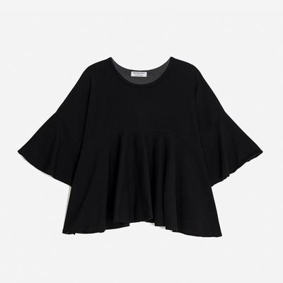 WOMEN 프릴 헴 슬리브 크롭 티셔츠(블랙)