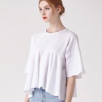 WOMEN 프릴 헴 슬리브 크롭 티셔츠(화이트)